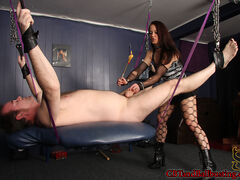 Mistress Cheyenne leads slave will in by a chain around his cock. She then straps him into a swinging bed and begins his torment for the day. Cheyenne whips, paddles, and canes his cock to get him warmed up. The more pain she inflicts, the harder wills cock gets.